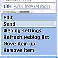 4. Then just send it to the blog. A little tip: you can also just press the green Send key.