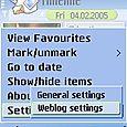 Select Weblog Settings